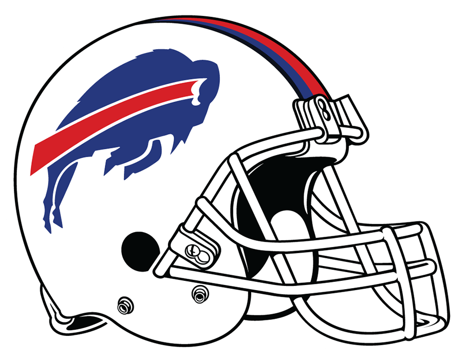 Buffalo Bills Helmet Helmet (2021-Pres) - A decade after returning to a white helmet shell after two decades in red, the Buffalo Bills changed things up again in a much more subtle way for their 2021 NFL season. The blue leaping buffalo logo on the side with red, blue and navy stripes up the middle of the shell was retained but the grey facemask was replaced with a white one, bringing back one element of what the club used during their AFC championship seasons. SportsLogos.Net
