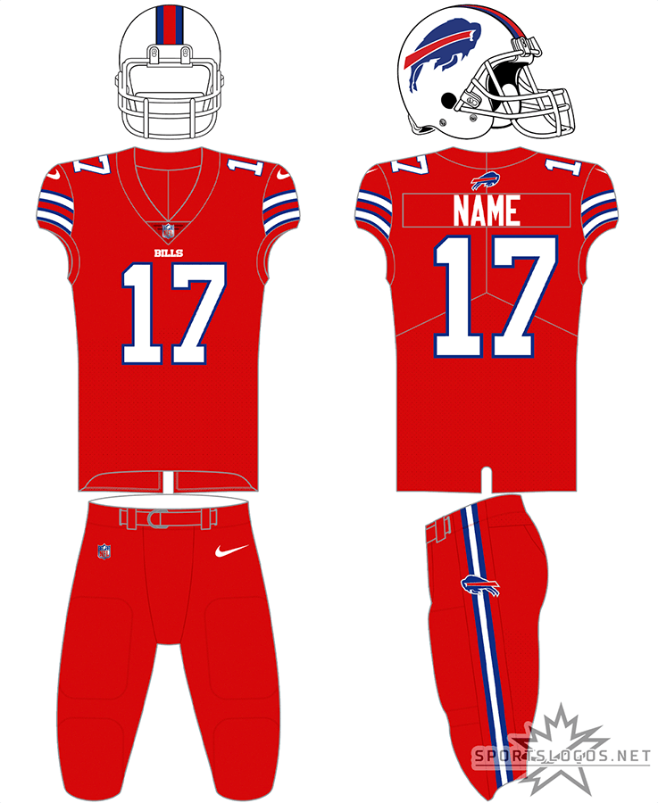 Buffalo Bills Uniform Alternate Uniform (2021-Pres) - The Buffalo Bills all red Color Rush alternate uniform pairs a red jersey with white numbers and stripes with a white helmet featuring the leaping blue bison logo. Red pants are added to finish off the all-red look. In 2021 the Bills changed the colour of their facemask from grey to white. SportsLogos.Net
