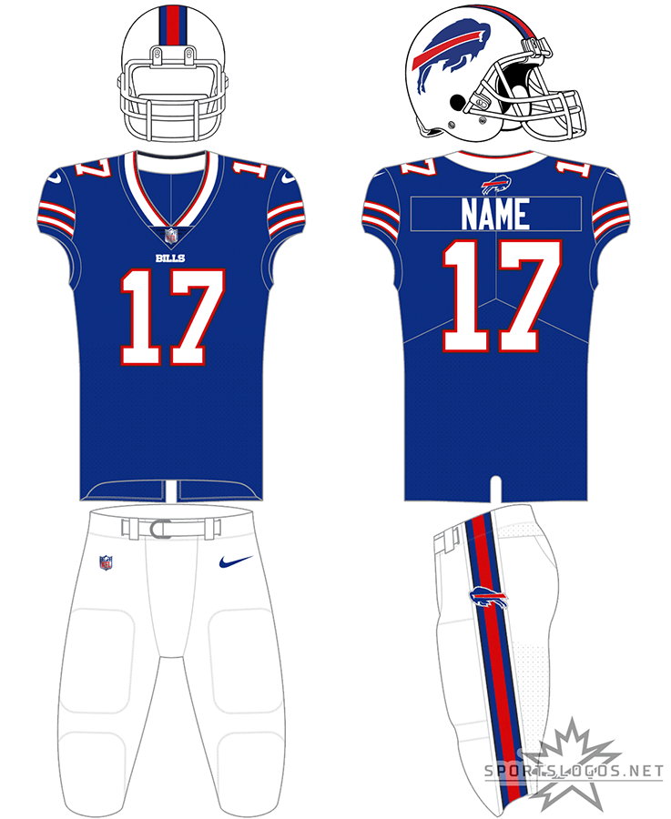 Buffalo Bills Uniform Primary Dark Uniform (2021-Pres) - The Buffalo Bills home uniform pairs a blue jersey with white numbers and stripes with a white helmet featuring the leaping blue bison logo. This jersey can be worn with white or blue pants. In 2021 the Bills changed the colour of their facemask from grey to white. SportsLogos.Net