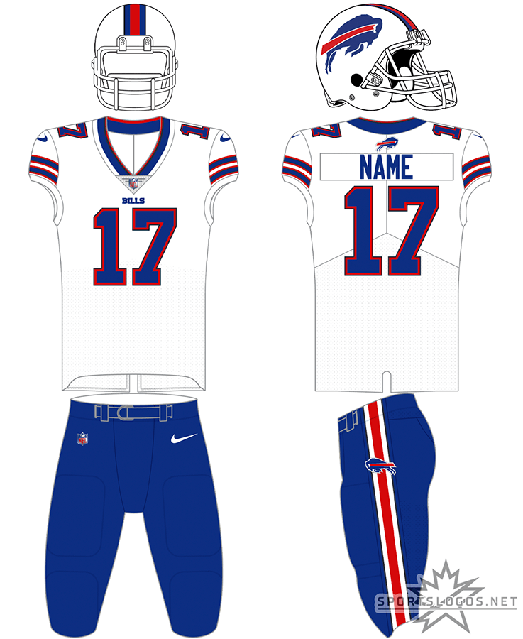 Buffalo Bills Uniform Primary White Uniform (2021-Pres) - The Buffalo Bills road uniform pairs a white jersey with blue numbers and stripes with a white helmet featuring the leaping blue bison logo. This jersey can be worn with white or blue pants. In 2021 the Bills changed the colour of their facemask from grey to white. SportsLogos.Net