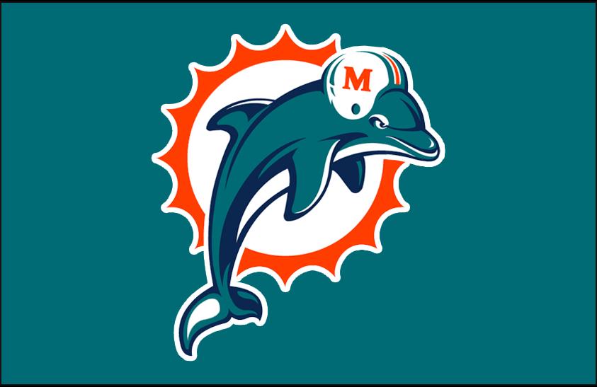 Miami Dolphins Logo Primary Dark Logo (1997-2012) - Miami Dolphins primary logo on aqua SportsLogos.Net
