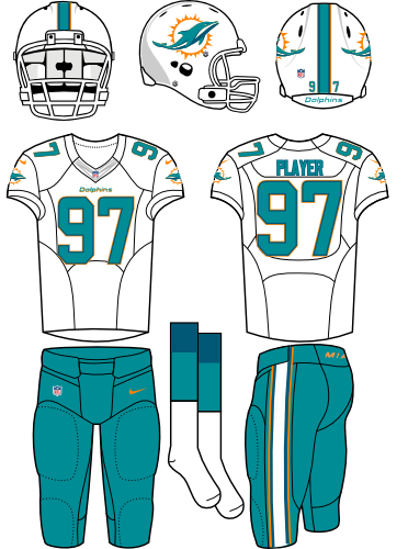 Miami Dolphins Uniform Road Uniform (2013-2017) - White helmet (with primary logo on the sides) with white facemask. White jersey with aqua pants. Manufactured by Nike. SportsLogos.Net
