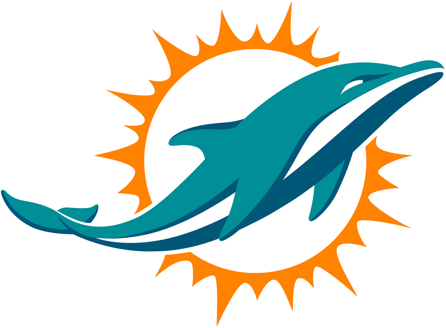 Miami Dolphins Logo Primary Logo (2013-2017) - An aqua and marine-blue dolphin swimming in front of a coral sunburst; shade of coral (orange) was adjusted following the 2017 season SportsLogos.Net