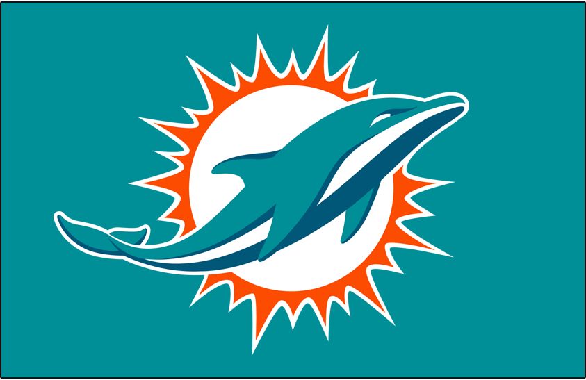 Miami Dolphins Logo Primary Dark Logo (2018-Pres) - An aqua and marine-blue dolphin swimming in front of a coral sunburst; shade of coral (orange) was adjusted following the 2017 season SportsLogos.Net
