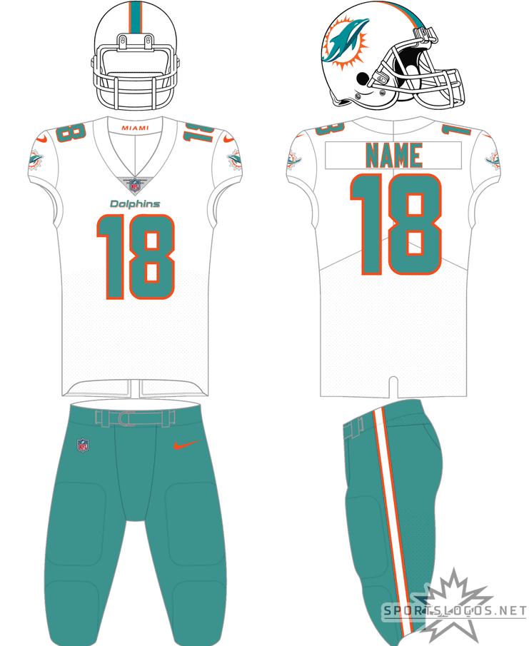 Miami Dolphins Uniform Road Uniform (2018-Pres) - White helmet, white jersey with aqua numbers and coral (orange) trim, aqua pants SportsLogos.Net