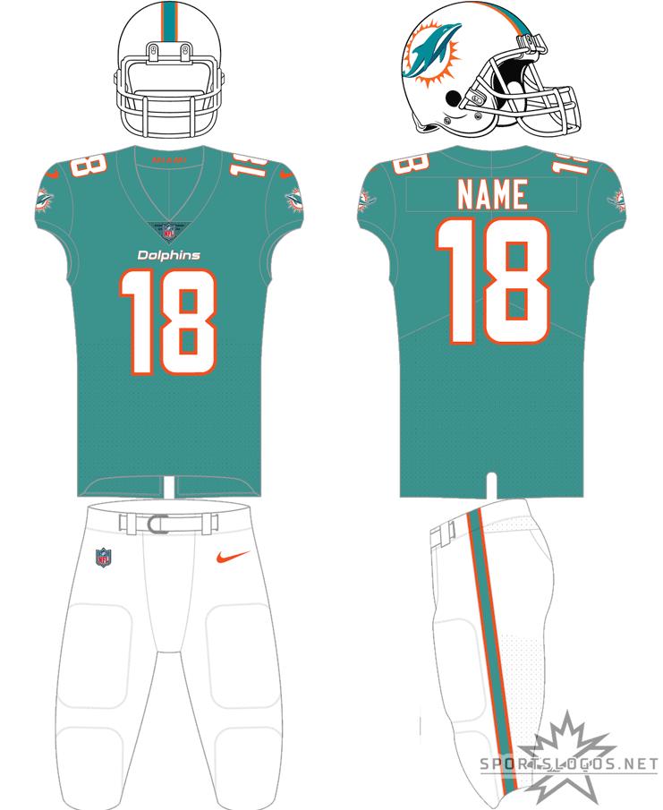 Miami Dolphins Uniform Home Uniform (2018-Pres) - White helmet, aqua jersey with white numbers and coral (orange) trim, white pants SportsLogos.Net