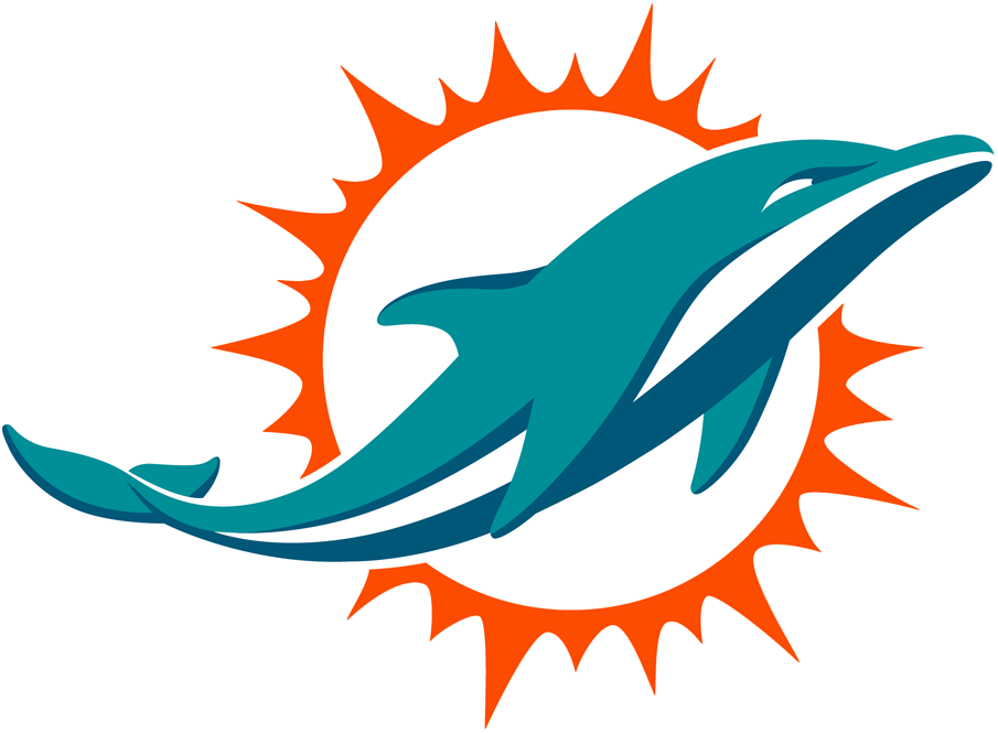 Miami Dolphins Logo Primary Logo (2018-Pres) - An aqua and marine-blue dolphin swimming in front of a coral sunburst; shade of coral (orange) was adjusted following the 2017 season SportsLogos.Net