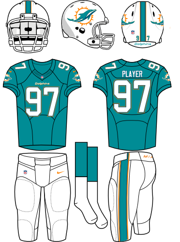 Miami Dolphins Uniform Home Uniform (2013-2017) - White helmet (with primary logo on the sides) with white facemask. Aqua jersey with white pants. Manufactured by Nike. SportsLogos.Net