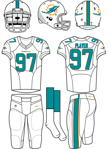 Miami Dolphins Uniform Road Uniform (2013-2017) - White helmet (with primary logo on the sides) with white facemask. White jersey with white pants. Manufactured by Nike. SportsLogos.Net