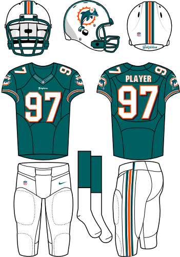 Miami Dolphins Uniform Home Uniform (2012) - White helmet (primary logo on the side) with aqua jersey and white pants. Manufactured by Nike. SportsLogos.Net