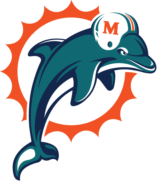 Miami Dolphins Logo Primary Logo (1997-2012) - Aqua and navy dolphin leaping in front of an orange sunburst SportsLogos.Net