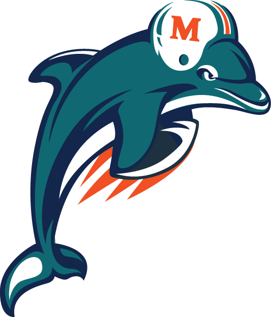 Miami Dolphins Logo Alternate Logo (1997-2012) - A Dolphin jumping with a football SportsLogos.Net