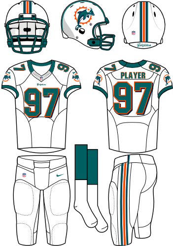 Miami Dolphins Uniform Road Uniform (2012) - White helmet (primary logo on the side) with white jersey and white pants. Manufactured by Nike. SportsLogos.Net