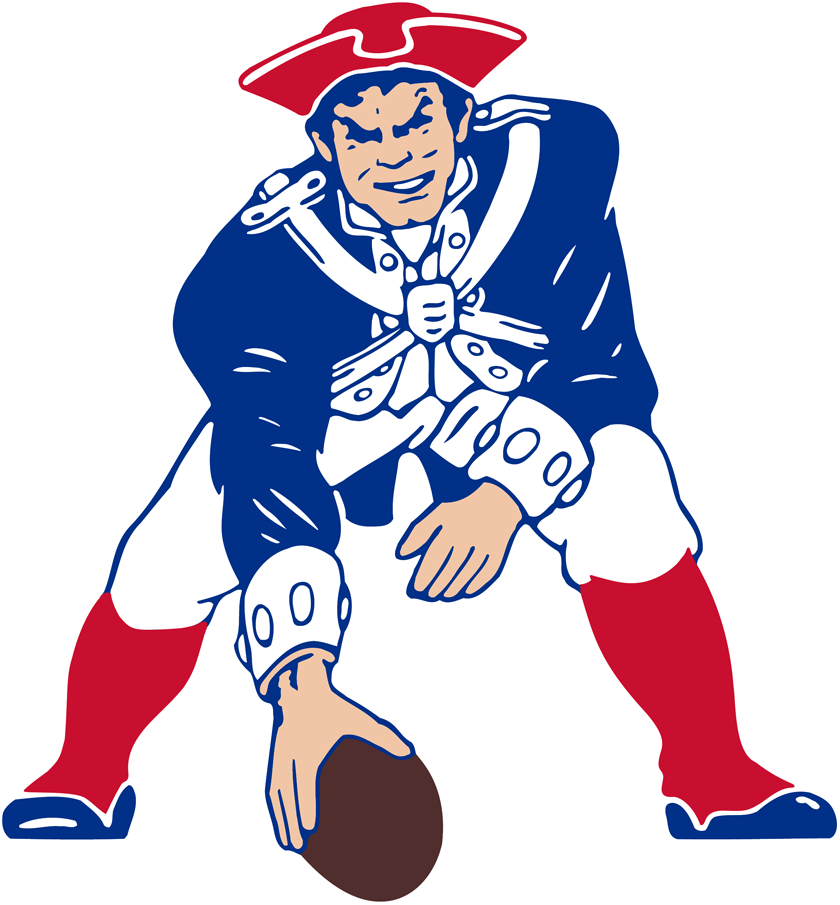 New England Patriots Logo Primary Logo (1972-1988) - Patriot Pat in red, white, and blue about to hike the football SportsLogos.Net