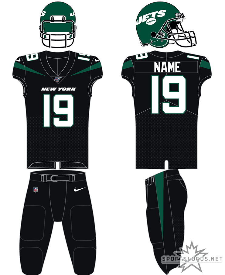 New York Jets Uniform Alternate Uniform (2019-Pres) - Green helmet, black jersey, black pants with green accents and white numbers SportsLogos.Net