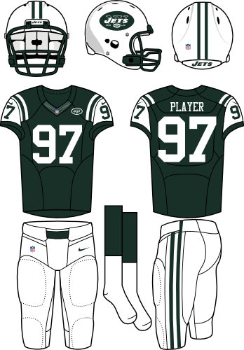 New York Jets Uniform Home Uniform (2012-2018) - White helmet (primary logo on the side) with dark green jersey (accented in white) and white pants. Manufactured by Nike. SportsLogos.Net