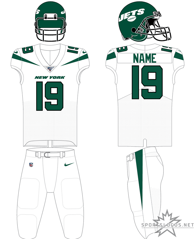 New York Jets Uniform Road Uniform (2019-Pres) - Green helmet, white jersey, white pants with black accents and green numbers SportsLogos.Net