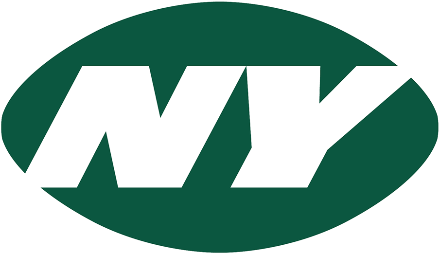 New York Jets Logo Alternate Logo (2019-Pres) - NY in white italics on a green football-shaped oval SportsLogos.Net