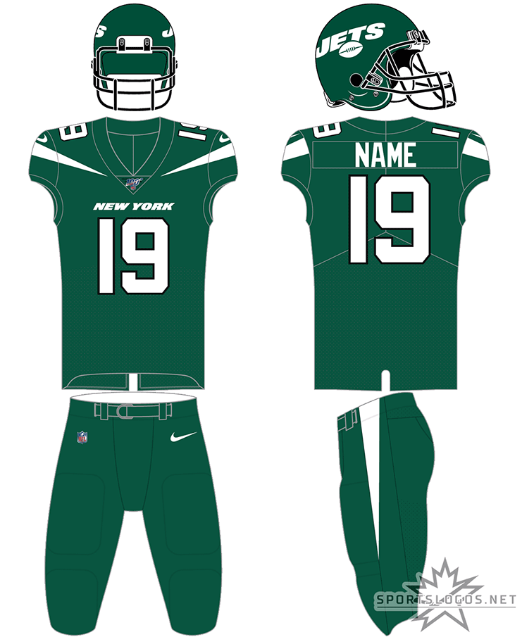 New York Jets Uniform Home Uniform (2019-Pres) - Green helmet, green jersey, green pants with black accents and white numbers SportsLogos.Net