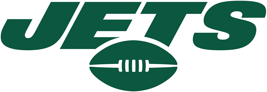 New York Jets Logo Wordmark Logo (2019-Pres) - JETS in green italics over a football SportsLogos.Net