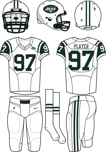 New York Jets Uniform Road Uniform (2012-2018) - White helmet (primary logo on the sides) with white jersey (accented in dark green) and white pants. Manufactured by Nike. SportsLogos.Net
