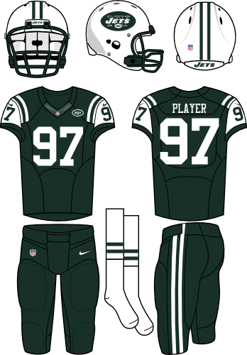 New York Jets Uniform Home Uniform (2012-2018) - White helmet (primary logo on the sides) with dark green jersey (accented in white) and dark green pants. Manufactured by Nike. SportsLogos.Net