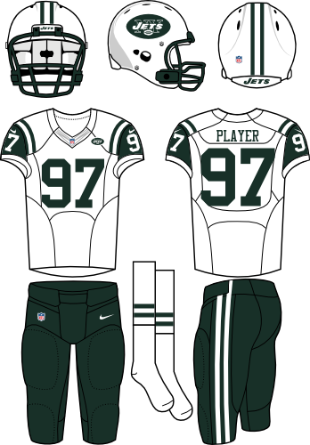 New York Jets Uniform Road Uniform (2012-2018) - White helmet (primary logo on the sides) with white jersey (accented in dark green) and green pants. Manufactured by Nike. SportsLogos.Net