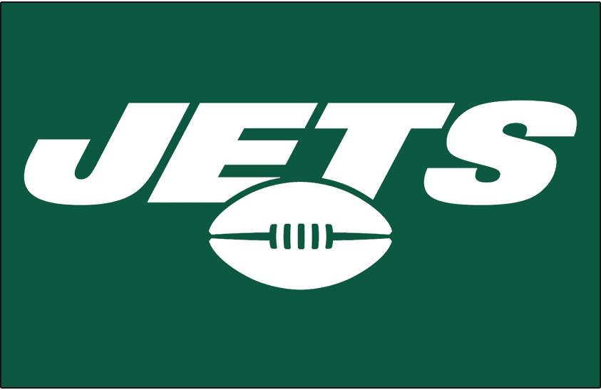 New York Jets Logo Helmet Logo (2019-Pres) - JETS in white italics over a football on green, worn on New York Jets helmet starting in 2019 SportsLogos.Net