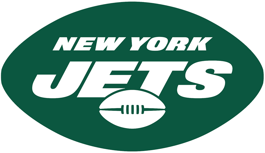 New York Jets Logo Primary Logo (2019-Pres) - JETS in white italics over a football, NEW YORK above all within a green football-shaped oval SportsLogos.Net