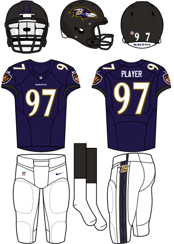 Baltimore Ravens Uniform Home Uniform (2013-Pres) - Black helmet (primary logo on the side) with purple jersey (accented in black) with white pants. Manufactured by Nike. Collar changed from 2012 to 2013. SportsLogos.Net