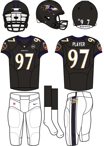 Baltimore Ravens Uniform Alternate Uniform (2012) - Black helmet (primary logo on the side) with black jersey and white pants. Manufactured by Nike. SportsLogos.Net
