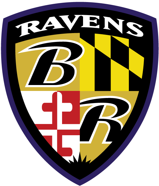 Baltimore Ravens Logo Alternate Logo (1999-Pres) - Coat of arms style shield with Maryland imagery and a B and R SportsLogos.Net