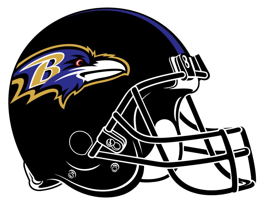 Baltimore Ravens Helmet Helmet (1999-Pres) - Black helmet, tapered purple stripes, raven head logo and black facemask SportsLogos.Net