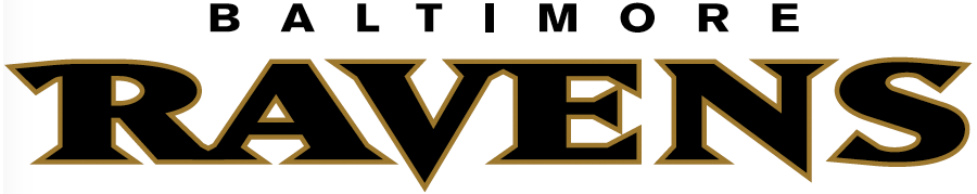 Baltimore Ravens Logo Wordmark Logo (1999-Pres) - Ravens in black with Baltimore above in black SportsLogos.Net