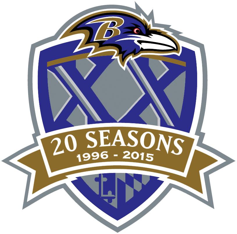 Baltimore Ravens Logo Anniversary Logo (2015) - Baltimore Ravens 20th Season Logo SportsLogos.Net