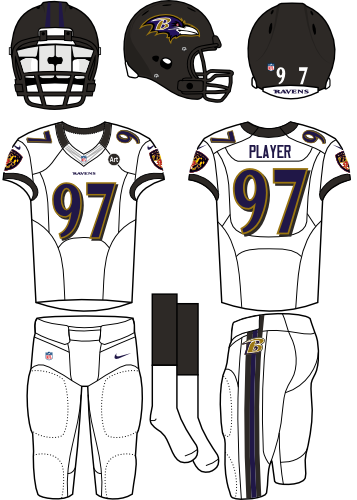 Baltimore Ravens Uniform Road Uniform (2012) - Black helmet (primary logo on the sides) with white jersey and white pants. Manufactured by Nike. SportsLogos.Net