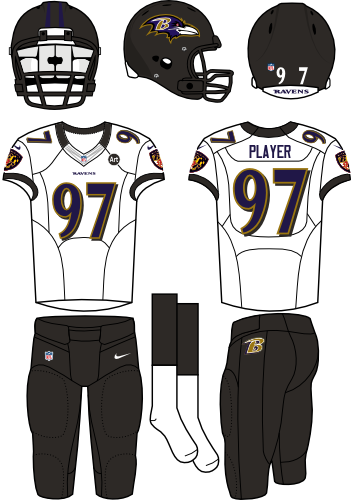 Baltimore Ravens Uniform Road Uniform (2012) - Black helmet (primary logo on the sides) with white jersey and black pants. Manufactured by Nike. SportsLogos.Net