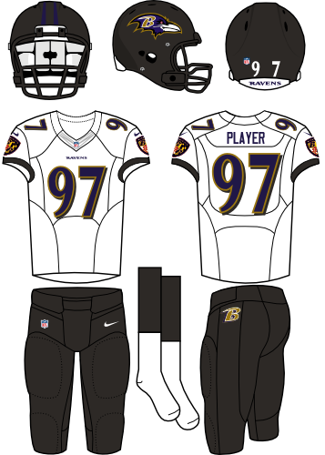 Baltimore Ravens Uniform Road Uniform (2013-Pres) - Black helmet (primary logo on the sides) with white jersey and black pants. Manufactured by Nike. Collar changed from 2012 to 2013.  SportsLogos.Net