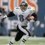 Baltimore Ravens (1996) Jermaine Lewis wearing the Baltimore Ravens road uniform in 1996