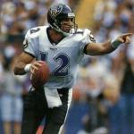 Baltimore Ravens (1996) Vinny Testeverde wearing the Baltimore Ravens road uniform in 1996