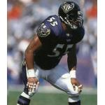 Baltimore Ravens (1997) Jamie Sharper wearing the Baltimore Ravens home uniform in 1997