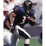 Baltimore Ravens (1998) Priest Holmes wearing the Baltimore Ravens home uniform in 1998