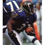 Baltimore Ravens (1999) Priest Holmes wearing the Baltimore Ravens home uniform in 1999