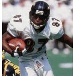 Baltimore Ravens (1999) Qadry Ismail wearing the Baltimore Ravens road uniform in 1999