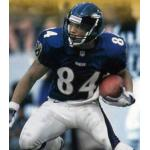 Baltimore Ravens (1999) Jermaine Lewis wearing the Baltimore Ravens home uniform in 1999