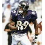 Baltimore Ravens (2000) Travis Taylor wearing the Baltimore Ravens home uniform in 2000