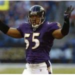 Baltimore Ravens (2003) Terrell Suggs wearing the Baltimore Ravens home uniform in 2003