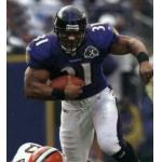 Baltimore Ravens (2005) Jamal Lewis wearing the Baltimore Ravens home uniform with Ravens 10th Anniversary Patch in 2005