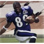 Baltimore Ravens (2005) Mark Clayton wearing the Baltimore Ravens home uniform with Ravens 10th Anniversary Patch in 2005