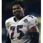 Baltimore Ravens (2005) Jonathan Ogden wearing the Baltimore Ravens road uniform with Ravens 10th Anniversary Patch in 2005